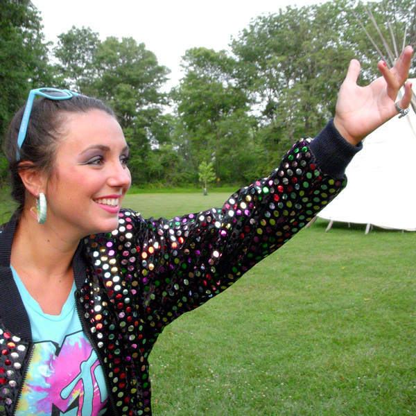 Volunteer counselor gestures at Camp Can Do, Gretna Glen, PA