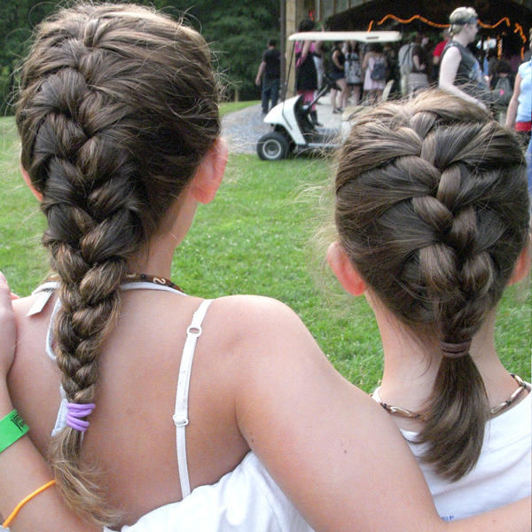 Hair braided alike, two Girls at Camp Can Do, Gretna Glen. PA