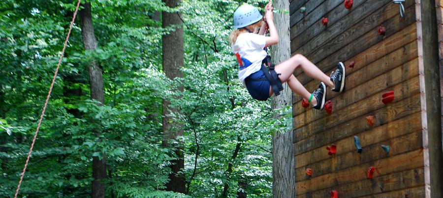 Climbing wall at Camp Can Do, Gretna Glen, central PA