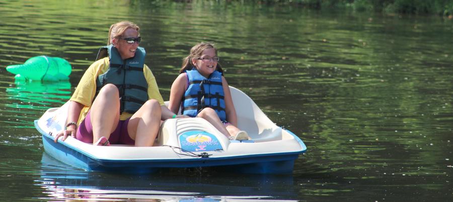 Paddle boating on the lake at Camp Can Do at Gretna Glen, Mount Gretna, central PA
