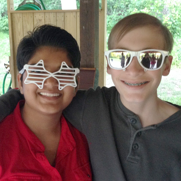 Campers in goofy sunglasses at Camp Can Do, Gretna Glen. central PA