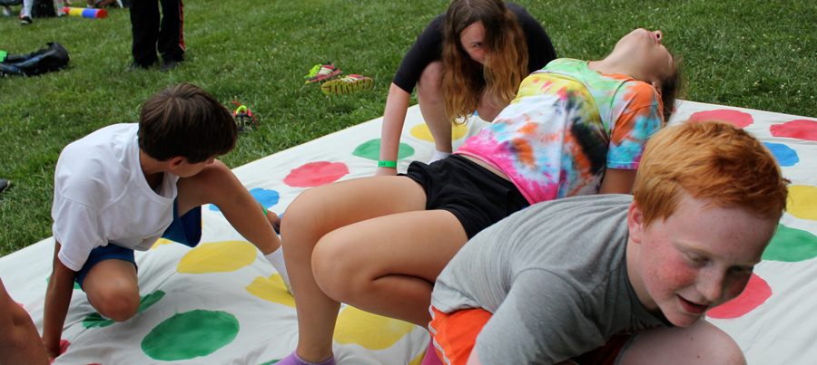 Playing Twister at Camp Can Do, Gretna Glen, PA