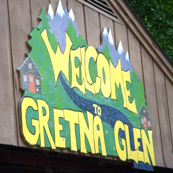 Hand-painted Gretna Glen Sign on Pavillion at Gretna Glen. PA
